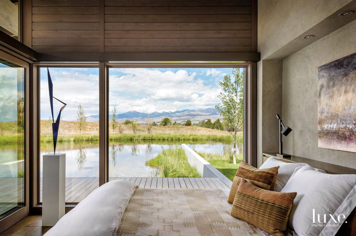 A Master Bedroom With Amazing Montana Mountain Views