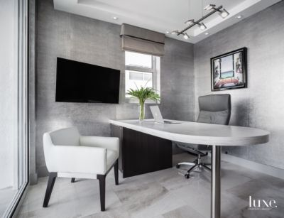 Warm Grey Office in Fort Lauderdale Condo Luxe Interiors Design