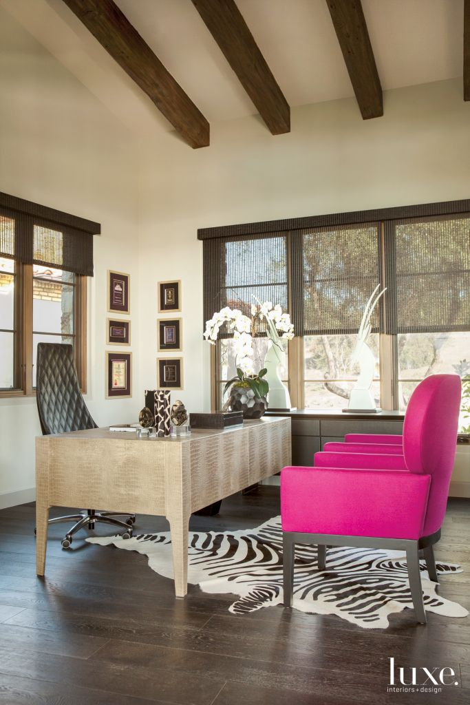 dramatic feminine office in modern mediterranean san diego home