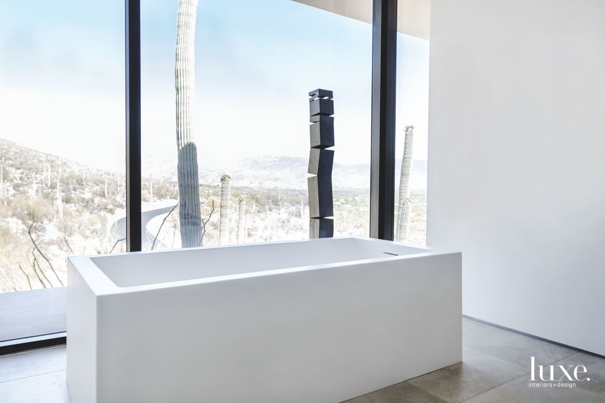 Contemporary Tucson Master Bathroom with Sculpture and Cacti