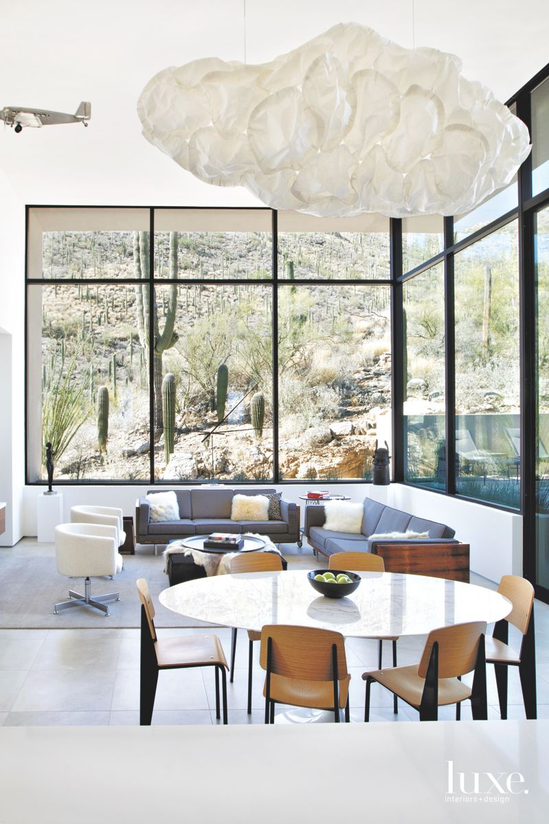 Contemporary Tucson Dining-Living Room with Cloud-like Lighting