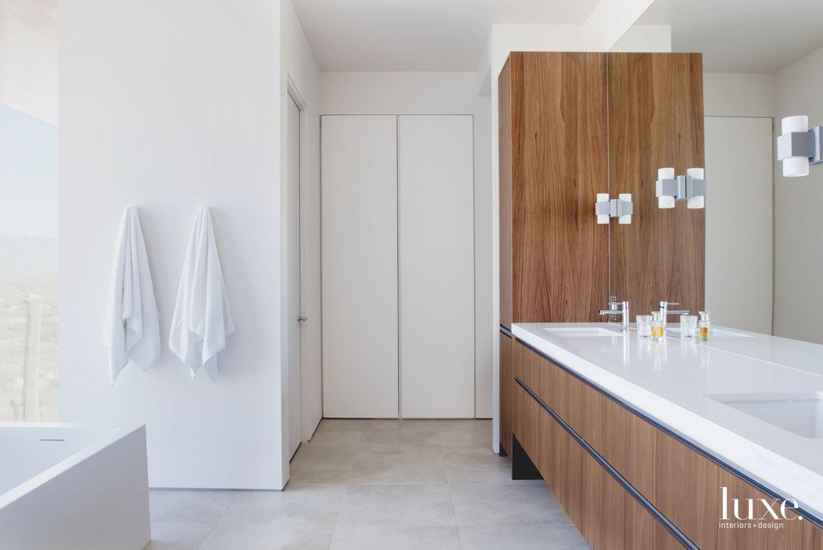 Walnut & White Contemporary Tucson Bathroom