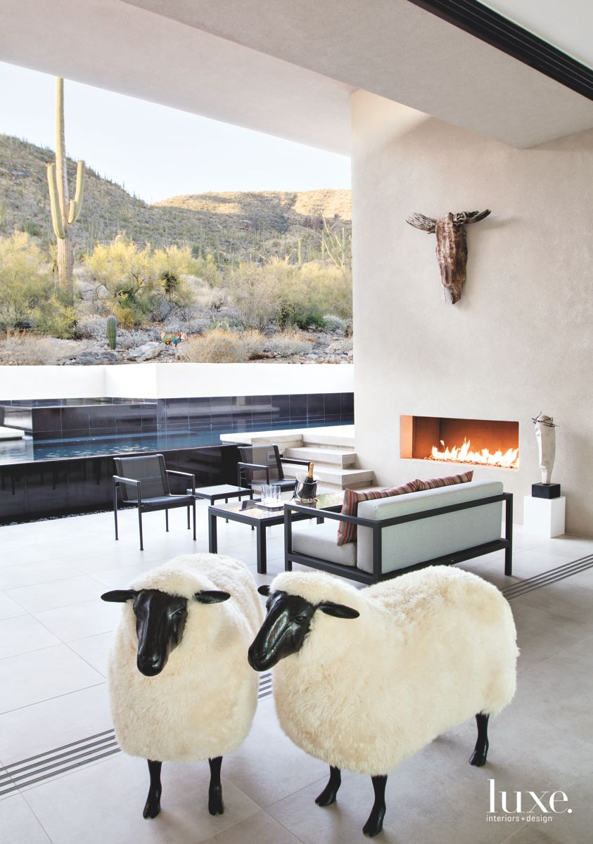 Outdoor Room with Fireplace in Tucson Contemporary Home
