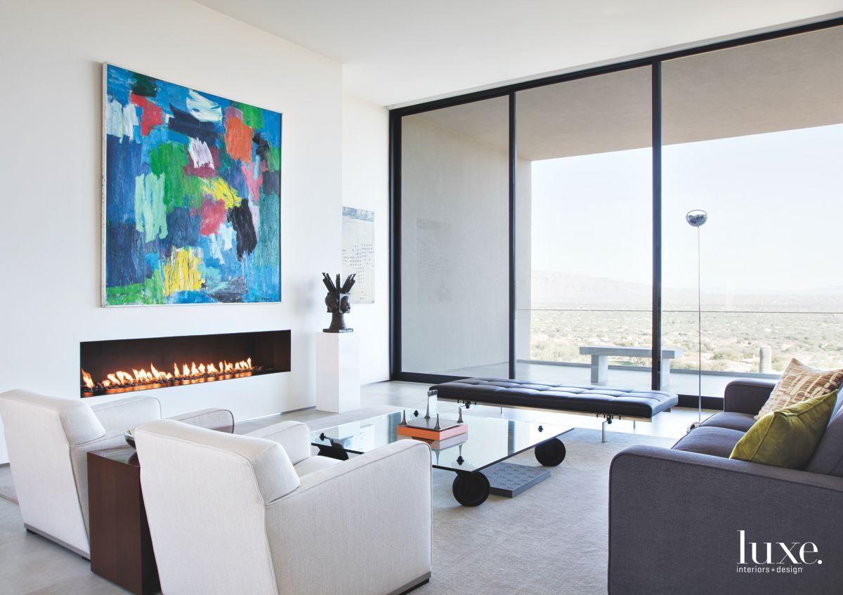 White Contemporary Tucson Living Room
