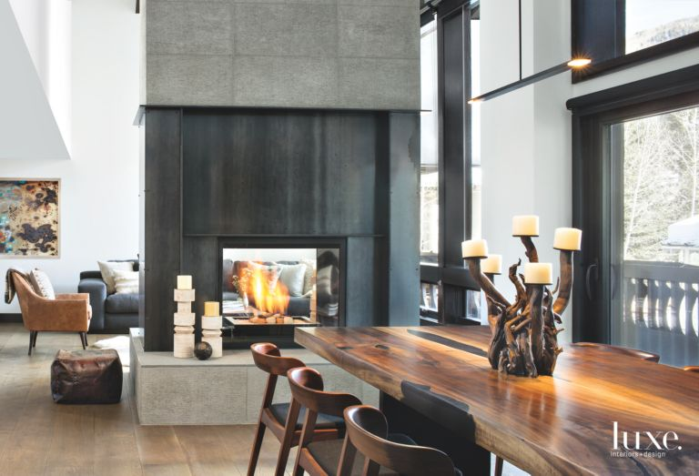 organic warm dining room in modern vail valley condo luxe
