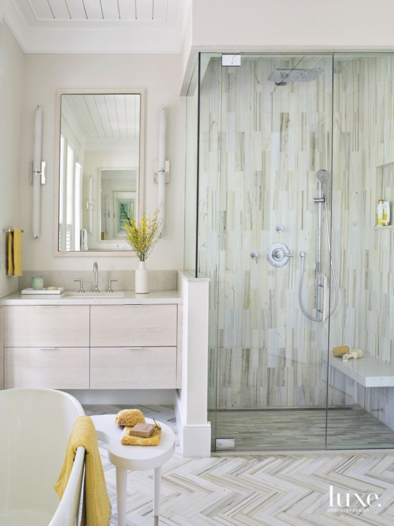 Contemporary Touches In Traditional Palm Beach Bathroom - Luxe ...