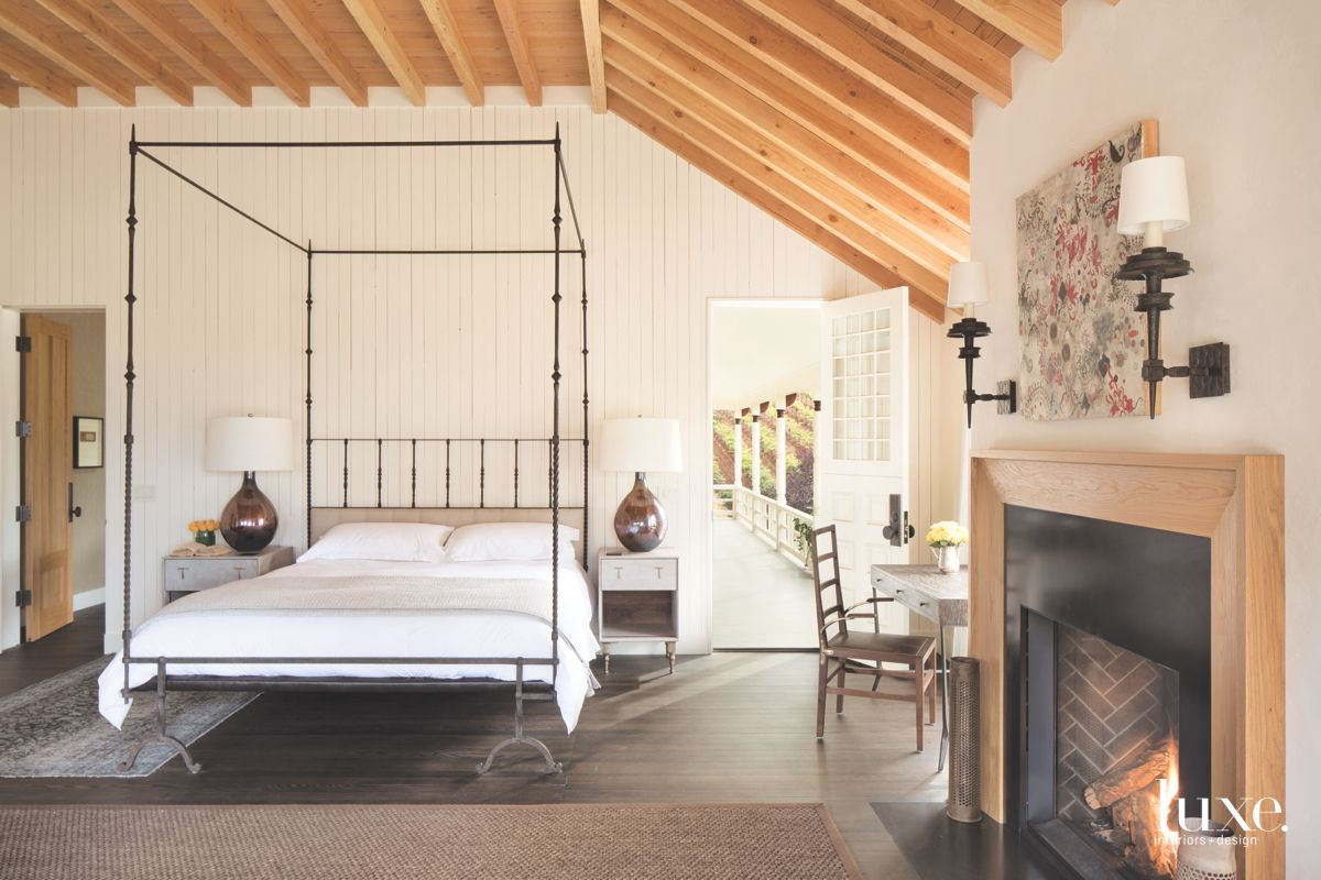 Dramatic Beamed Ceilings in Calistoga Country Master Bedroom