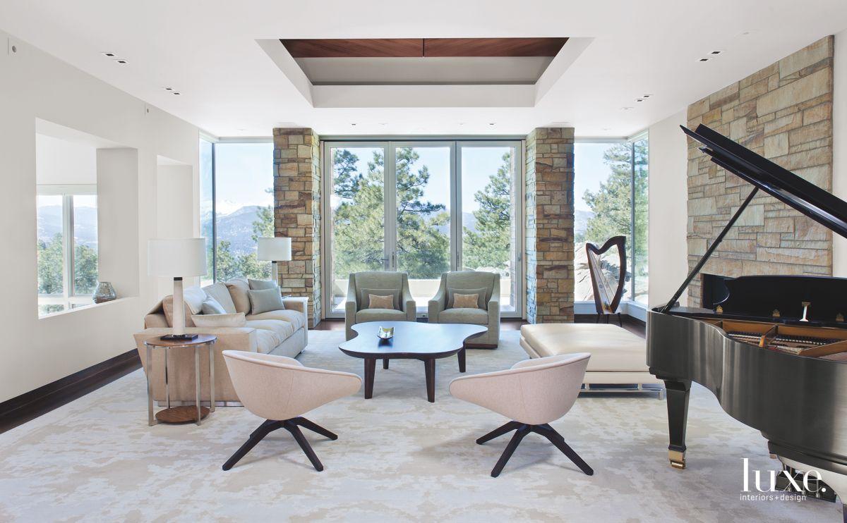 Walnut Coffering Adds Warmth to Modernist Denver Living Room