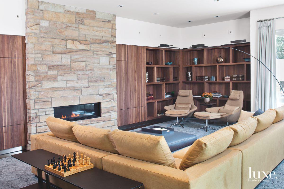 Warm, Modern Family Room in Denver Home