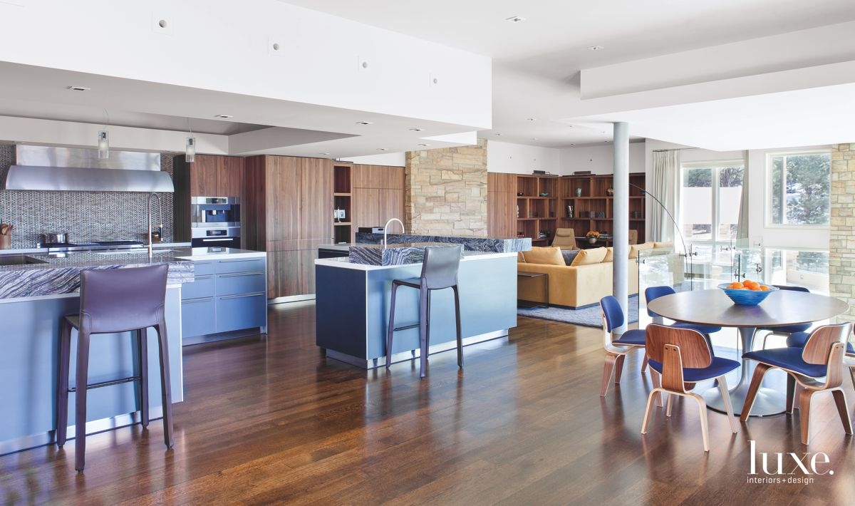 Warm, Modern Denver Kitchen with Blue Accdents