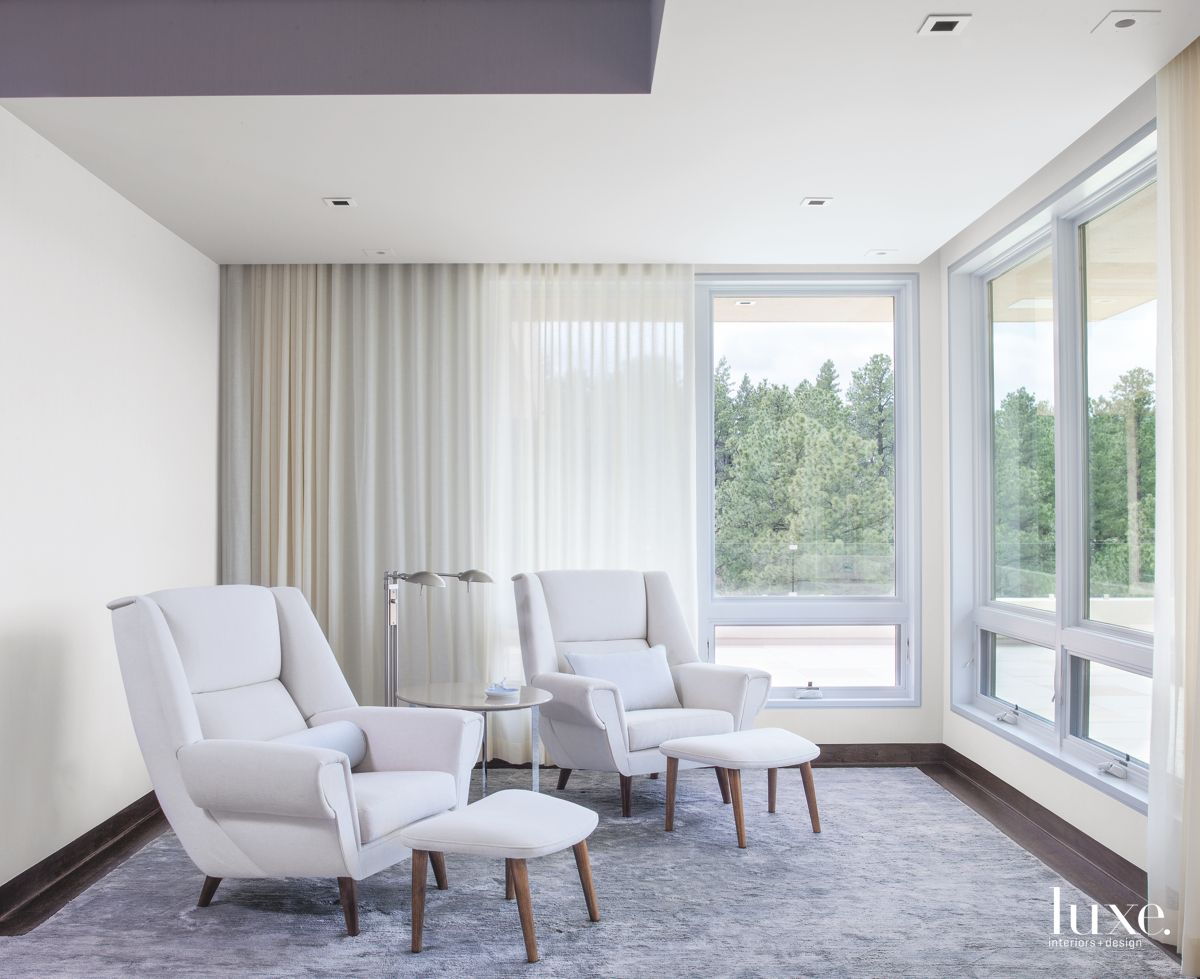 Peaceful Sitting Area with Mountain Views in Modernist Denver Home