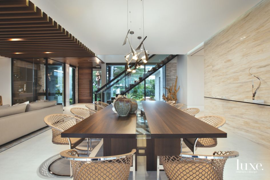 Marble-Walled Dining Room in Contemporary Fort Lauderdale