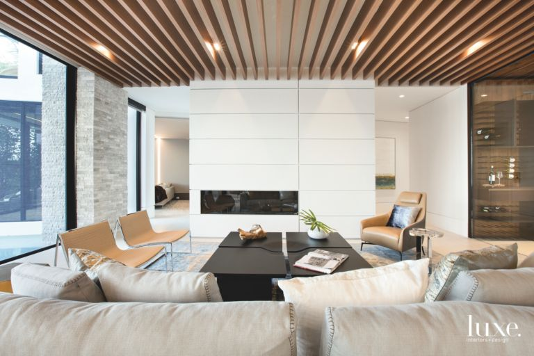 Slatted-Wood Ceiling & Metal Fireplace Define Contemporary Fort ...