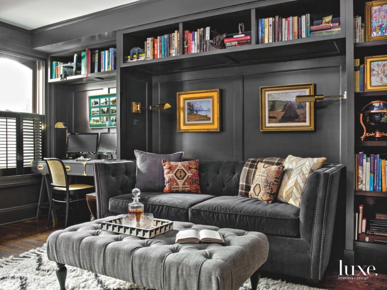 Dark Gray Paint Adds Sophistication To Built In Cabinetry