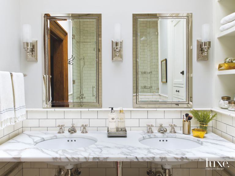 White Subway Tiles Marble Pair With Nickel Fixtures In Clean - Bathroom fixtures chicago