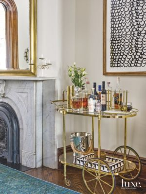 Brass Bar Cart Adds A Touch Of Whimsy To A Chicago Dining Room   Luxe  Interiors + Design