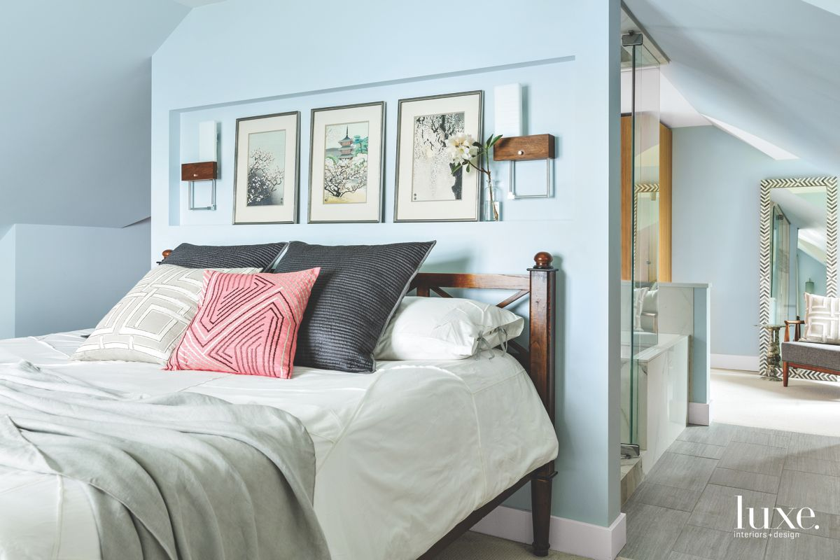 Contemporary & Traditional Styles Mix in Soothing Seattle Master Bedroom