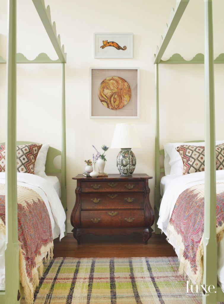 . Long Island Gold Coast Guest Room Features Decorative Elements from