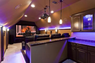 Turnkey Design And Conversion Of Attic Space Into A Luxurious Home Theater.  Scope Included Several