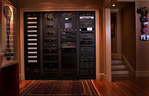 Theater Rack built for 34 displays  24 zones of audio  HVAC  Lighting   Garage  Gate  Pool Controls    LuxeSource   Luxe Magazine   The Luxury Home  Redefined. Theater Rack built for 34 displays  24 zones of audio  HVAC