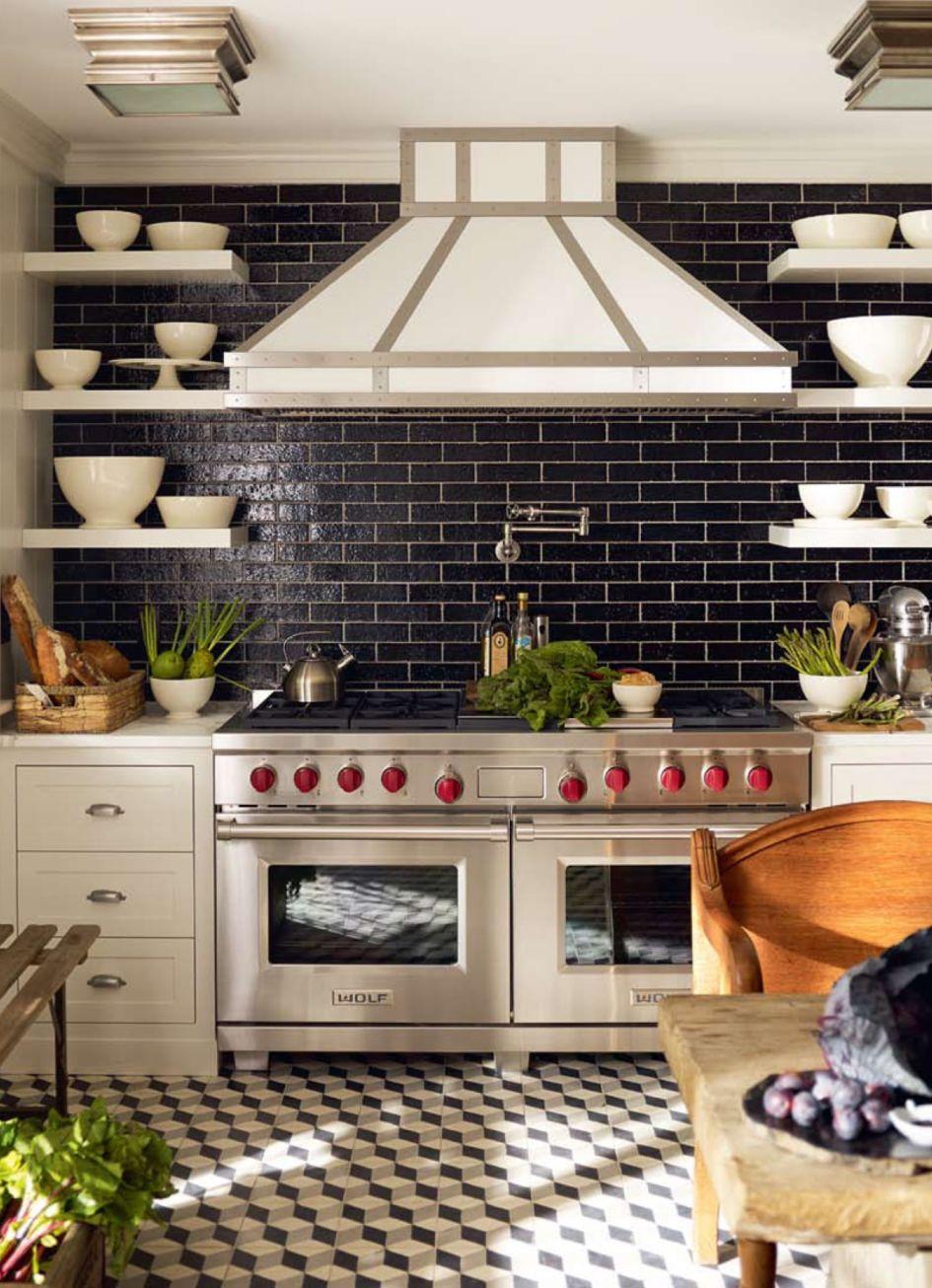 Black Brickworks Tile At Kitchen Wall With Waterworks Pot