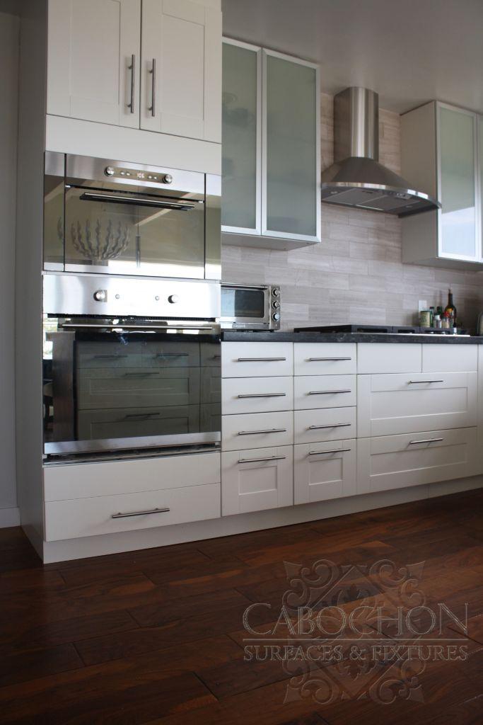 4x12 vein cut honed grey marble at kitchen backsplash. - Luxe ...