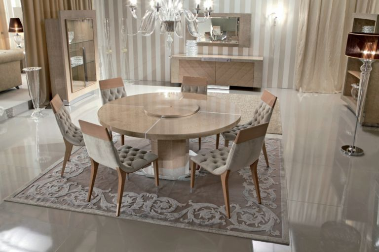 Sunrise Round Dining Table And Chairs In Birds Eye Maple Buffet