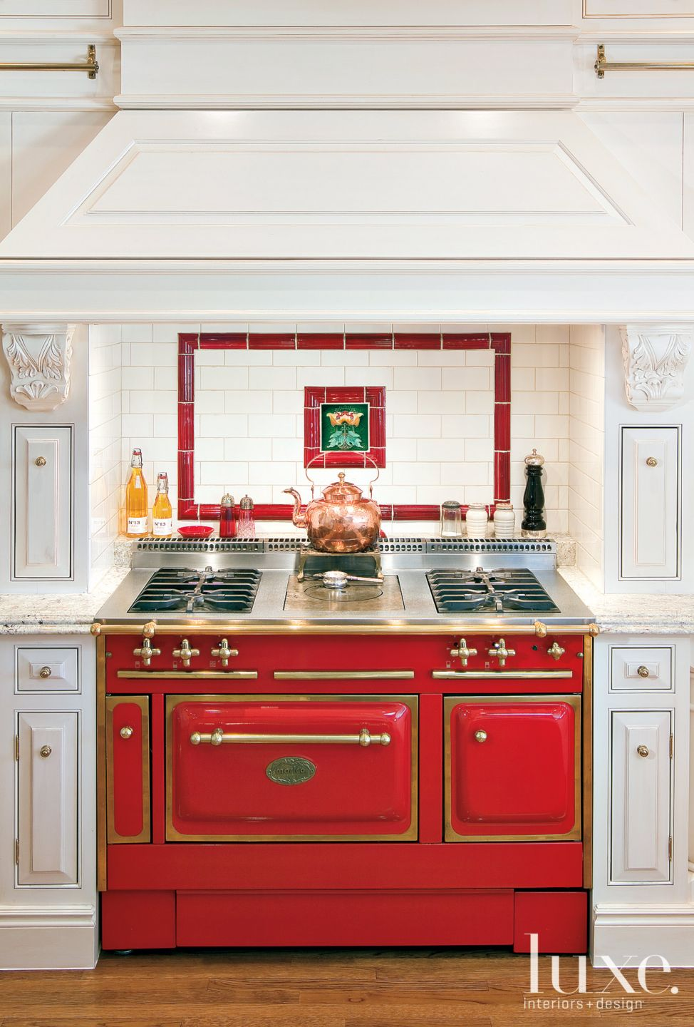 Traditional White Kitchen with Red Antique Stove