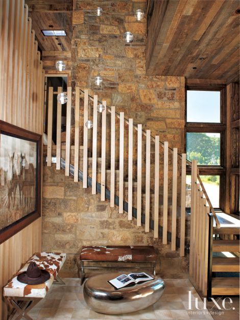 Mountain Neutral Foyer With Hair On Hide Covered Benches