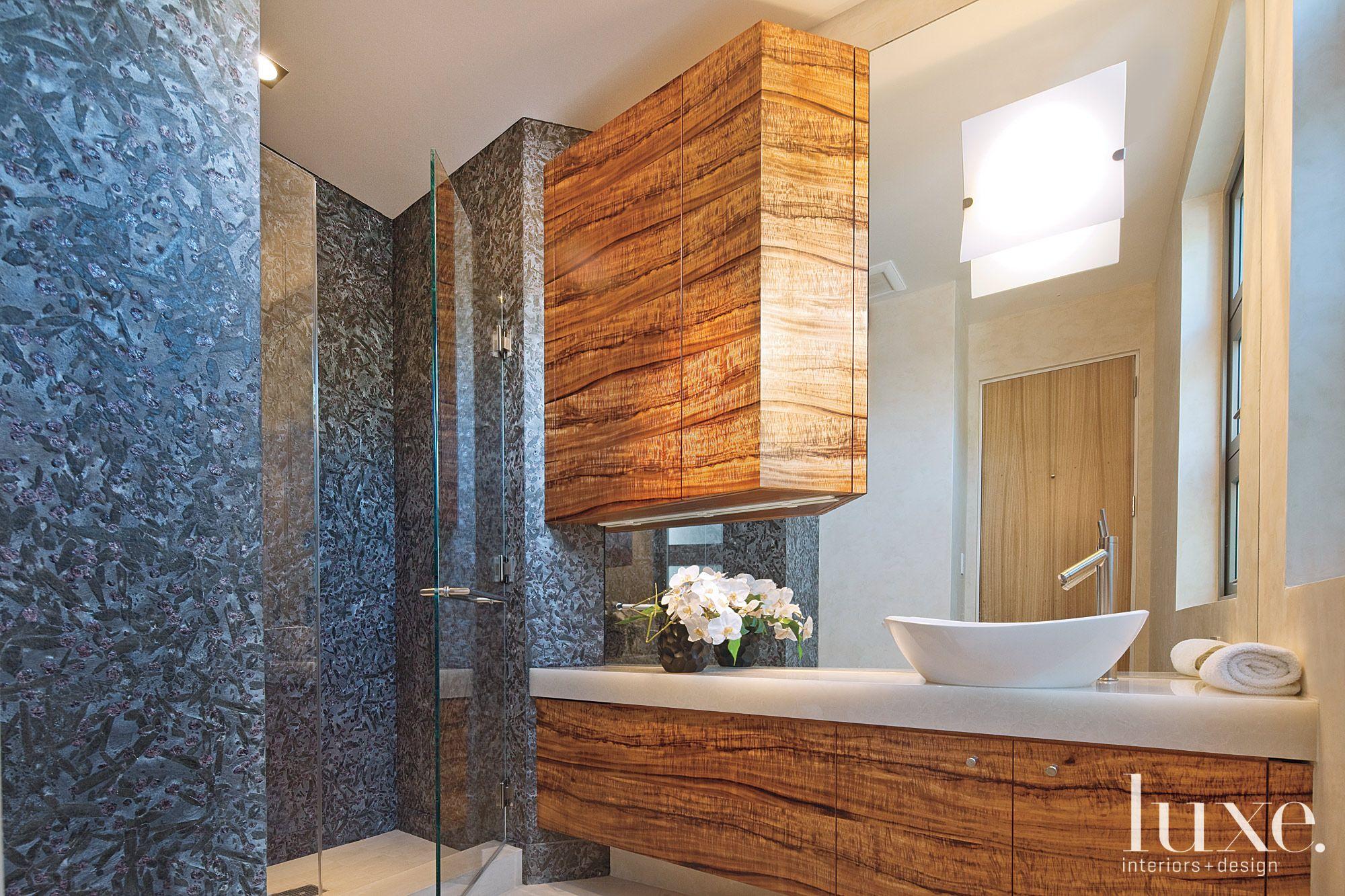 Rich texture guest bath