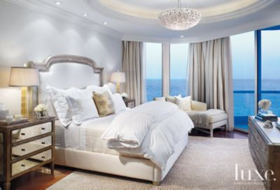 Contemporary White Master Bedroom With Silver Leaf Headboard   Luxe  Interiors + Design