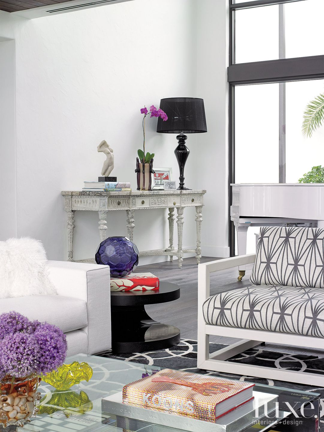 Transitional White Great Room Vignette