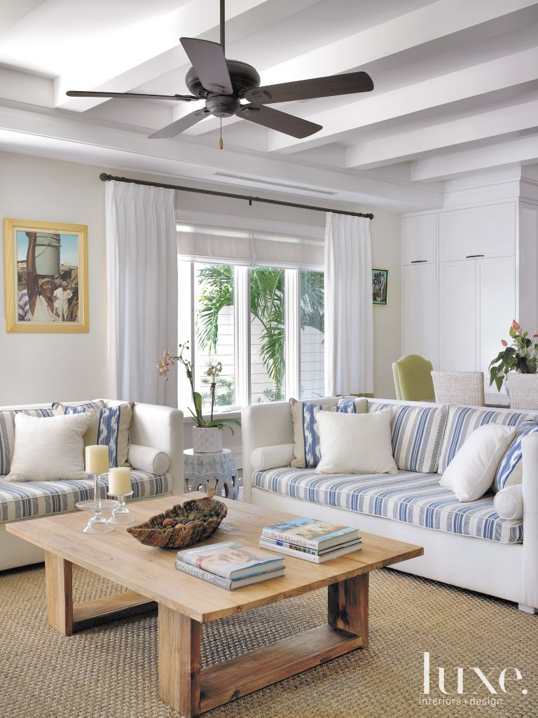 Transitional White Family Room with Ceiling Fan - Luxe Interiors + ...