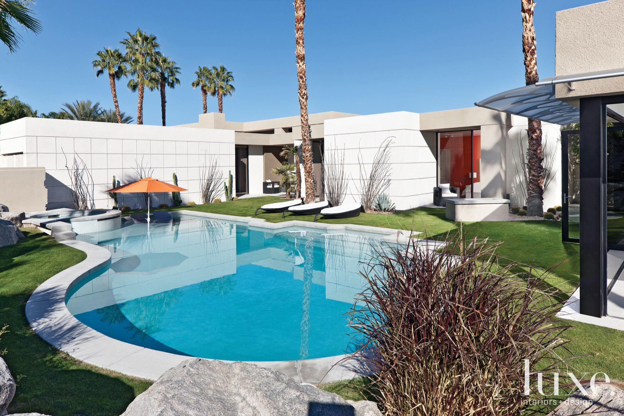 Contemporary White Rear Elevation with Pool