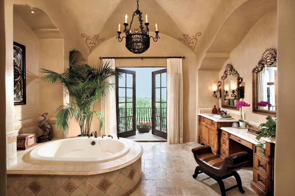 Spanish Style Bathroom Decorating Ideas: Spanish-Mediterranean Bath