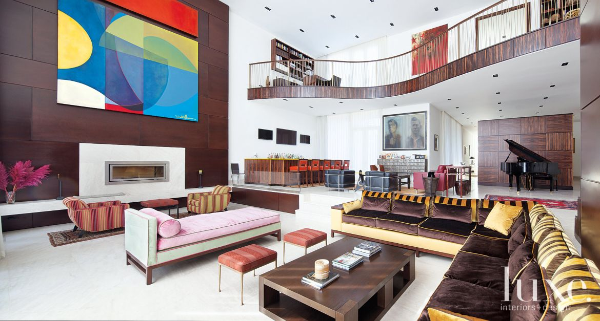 Neutral Modern Living Room With Bright Multi Colored