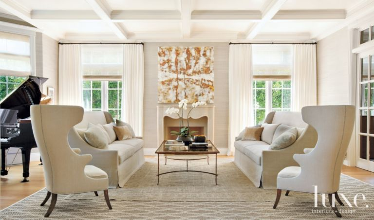 Transitional Cream Living Room with Twin Wing Chairs - Luxe ...