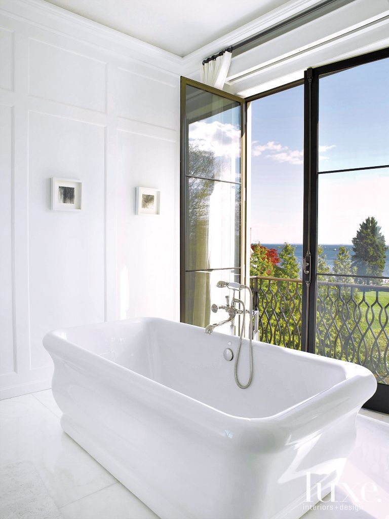 Master Bathroom with French Doors - Luxe Interiors + Design
