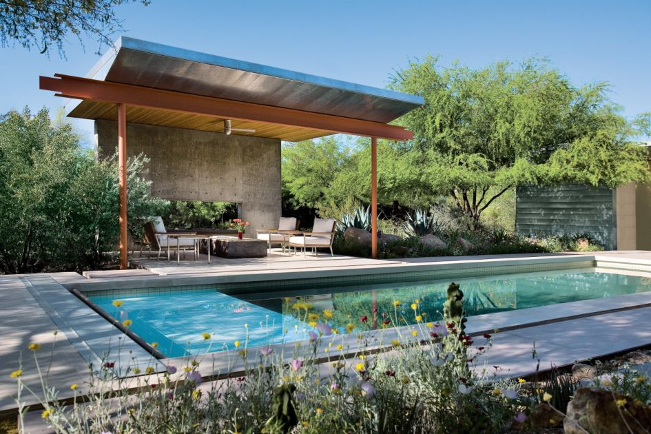 Modern Pool Pavilion - Luxe Interiors + Design