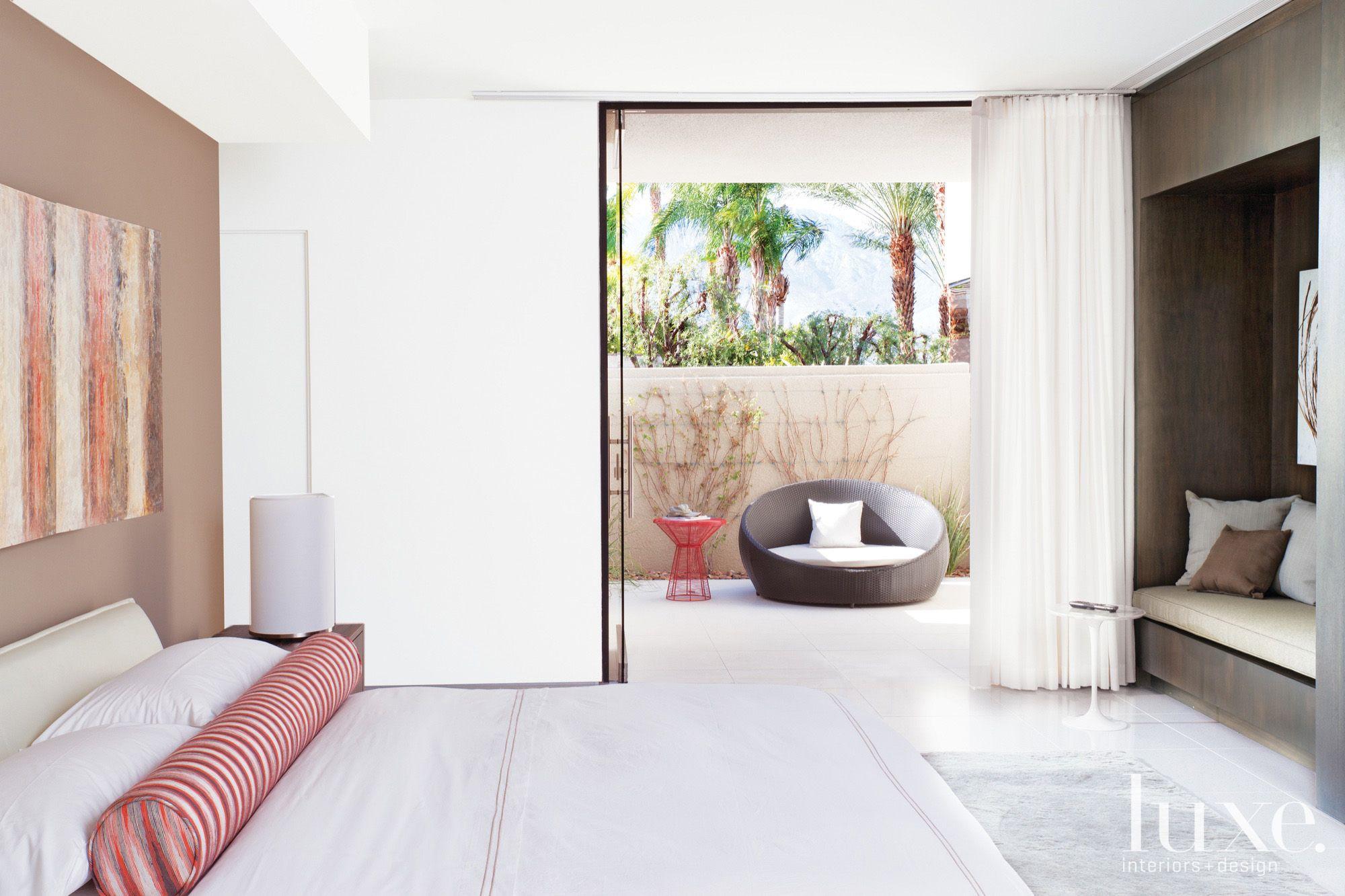 Contemporary White Indoor-Outdoor Bedroom
