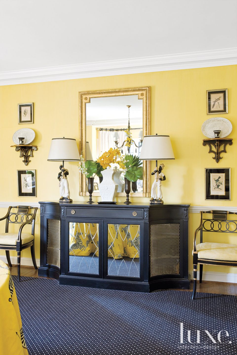 Yellow and Black Traditional Dining Room