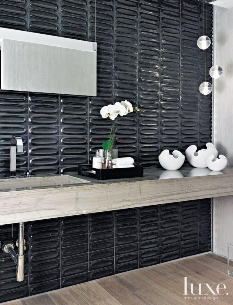 Gunmetal Tile In Modern Powder Room Luxe Interiors Design