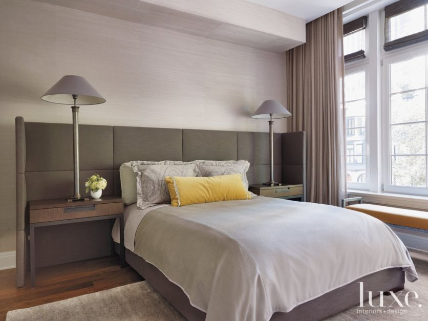 Contemporary Neutral Guest Bedroom With Tall Lamps Luxe
