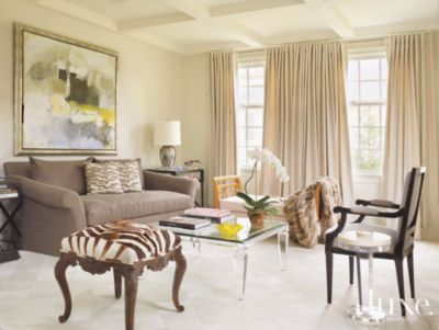 Modern Neutral Living Room With Animal Print Accents   Luxe Interiors +  Design