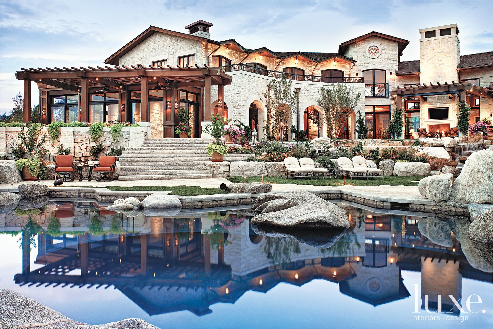 Mediterranean Limestone Poolside Landscape