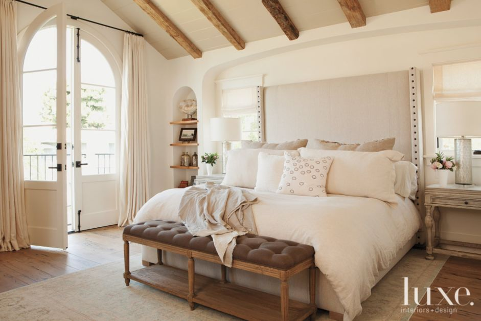 White Traditional Master Bedroom With Upholstered Headboard Luxe Interiors Design: master bedrooms with upholstered beds