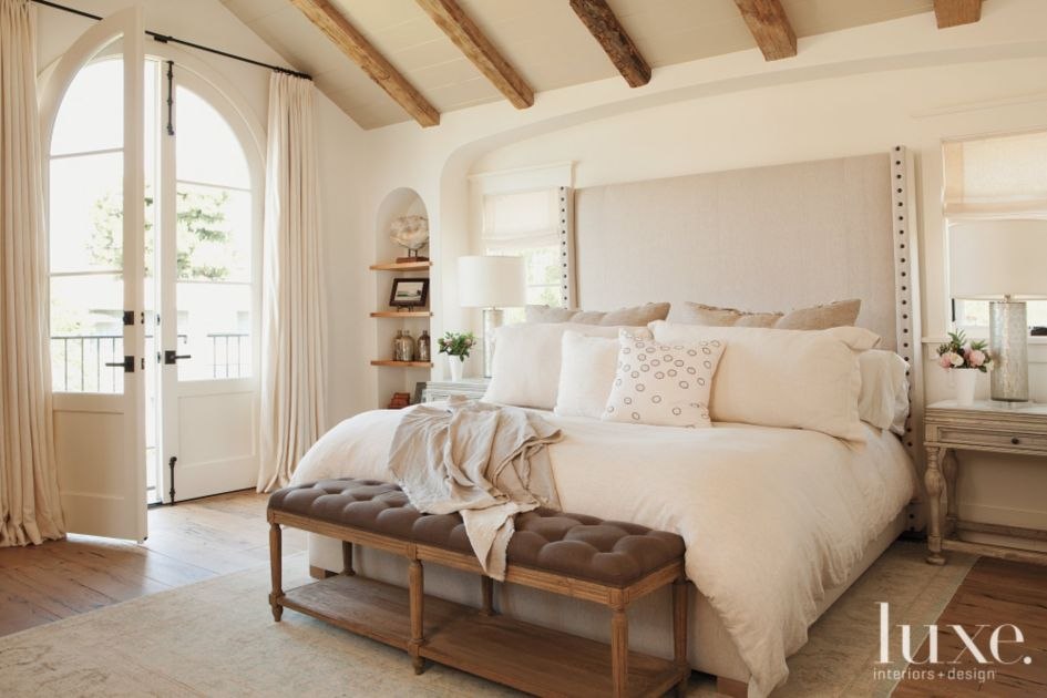 White Traditional Master Bedroom with Upholstered Headboard ...