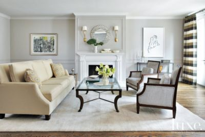 Contemporary Gray Living Room with Cream Sofa Luxe Interiors