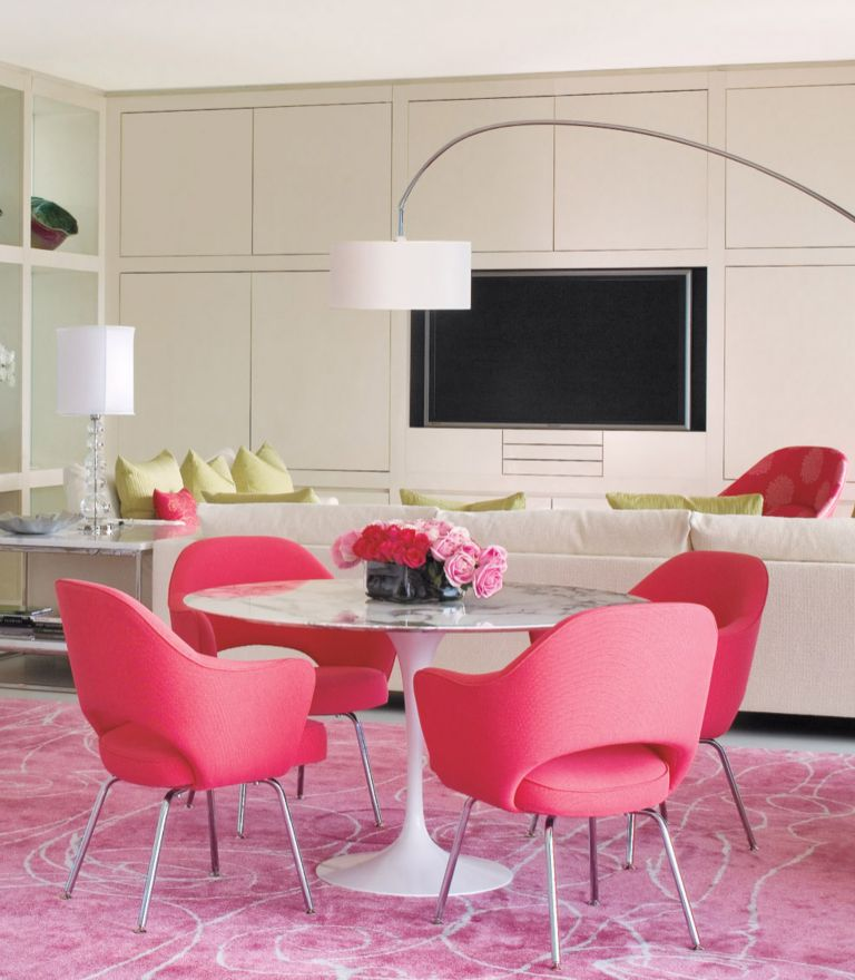 Contemporary White Dining Room with Pink Accents - Luxe Interiors + ...