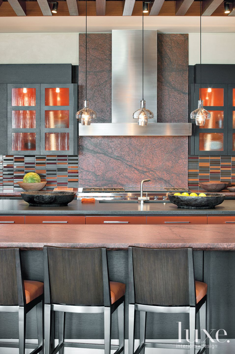Modern Red Kitchen with Brushed-Granite Countertops